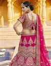 photo of Velvet Fabric Wedding Wear Pink Color Embroidered Lehenga