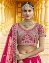 picture of Velvet Fabric Wedding Wear Pink Color Embroidered Lehenga