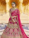 image of Velvet Fabric Wedding Wear Pink Color Embroidered Lehenga