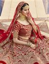 photo of Red Color Wedding Wear Embroidered Lehenga In Velvet Fabric