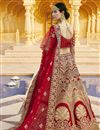 picture of Red Color Wedding Wear Embroidered Lehenga In Velvet Fabric
