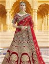 image of Red Color Wedding Wear Embroidered Lehenga In Velvet Fabric