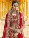 photo of Wedding Wear Velvet Fabric Embroidered Lehenga Choli In Red Color