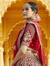 picture of Wedding Wear Velvet Fabric Embroidered Lehenga Choli In Red Color