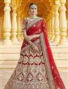 image of Wedding Wear Velvet Fabric Embroidered Lehenga Choli In Red Color