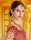 picture of Wedding Wear Red Color Velvet Fabric Embroidered Lehenga