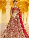 image of Wedding Wear Red Color Velvet Fabric Embroidered Lehenga