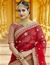 photo of Red Color Wedding Wear Velvet Fabric Embroidered Lehenga Choli