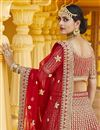 picture of Red Color Wedding Wear Velvet Fabric Embroidered Lehenga Choli