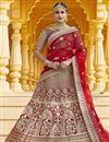 image of Red Color Wedding Wear Velvet Fabric Embroidered Lehenga Choli