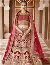image of Wedding Wear Red Color Embroidered Lehenga Choli In Velvet Fabric