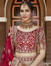 photo of Velvet Fabric Wedding Wear Embroidered Lehenga Choli In Red Color