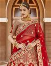 photo of Wedding Wear Velvet Fabric Red Color Embroidered Lehenga Choli