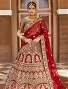 image of Wedding Wear Velvet Fabric Red Color Embroidered Lehenga Choli