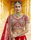 photo of Velvet Fabric Wedding Wear Red Color Embroidered Lehenga