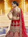 picture of Velvet Fabric Wedding Wear Red Color Embroidered Lehenga
