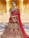 image of Velvet Fabric Wedding Wear Red Color Embroidered Lehenga