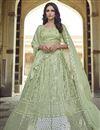 image of Sangeet Wear Sea Green Color Chic Georgette Fabric Sequins Work Lehenga Choli