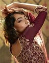photo of Function Wear Fancy Maroon Color Sequins Work Net Fabric Sharara Dress