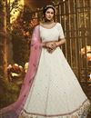 image of Georgette Fabric Reception Wear White Color Thread Embroidered Lehenga Choli