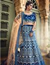 photo of Exclusive Comforting Velvet Navy Blue Color Designer 3 Piece Sharara Top Lehenga With Embroidery Work