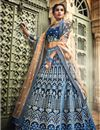 image of Exclusive Comforting Velvet Navy Blue Color Designer 3 Piece Sharara Top Lehenga With Embroidery Work