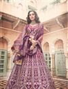 image of Exclusive Soothing Purple Color Designer 3 Piece Sharara Top Lehenga Choli In Art Silk With Beautiful Embroider Work