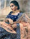 photo of Exclusive Art Silk Wedding Wear Designer Embroidered 3 Piece Lehenga Choli In Fancy Navy Blue Color