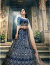 image of Exclusive Art Silk Wedding Wear Designer Embroidered 3 Piece Lehenga Choli In Fancy Navy Blue Color