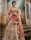 image of Exclusive Bridal Wear Art Silk Fancy Cream Color Designer Embroidered Lehenga Choli