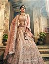 image of Exclusive Embroidered Georgette Wedding Wear Designer 3 Piece Lehenga Choli In Fancy Chikoo Color