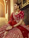 photo of Red Color Bridal Wear Velvet Fabric Embroidered Lehenga