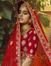 photo of Bridal Wear Velvet Fabric Embroidered Red Color Lehenga Choli