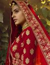 picture of Bridal Wear Velvet Fabric Embroidered Red Color Lehenga Choli