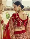 picture of Velvet Fabric Bridal Wear Embroidered Lehenga In Red Color