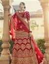 image of Velvet Fabric Bridal Wear Embroidered Lehenga In Red Color
