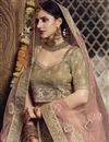 photo of Net Fabric Wedding Function Wear Beige Color Embroidered Lehenga