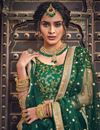 photo of Exclusive Net Fabric Designer Embroidered Lehenga Choli In Dark Green Color With Alluring Blouse