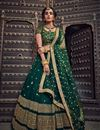 image of Exclusive Net Fabric Designer Embroidered Lehenga Choli In Dark Green Color With Alluring Blouse