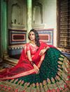 photo of Exclusive Dark Green Color Net Fabric Sangeet Wear 3 Piece Embroidered Lehenga With Enigmatic Blouse