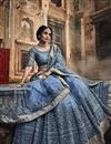 photo of Exclusive Net Fabric Embroidery Work Designer Bridal Wear Grey Color Lehenga