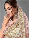 photo of Beige Color Thread Embroiderd Reception Wear Lehenga Choli In Georgette Fabric