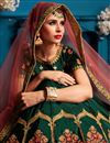 photo of Exclusive Satin Fabric Dark Green Embroidery Work Reception Wear Fancy Lehenga