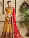image of Exclusive Satin Fabric Mustard Color Wedding wear Lehenga Choli With Work