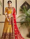 image of Exclusive Satin Fabric Designer Embellished Lehenga Choli In Mustard