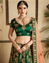 photo of Exclusive Satin Fabric Designer Embellished Lehenga Choli In Dark Green