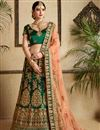 image of Exclusive Satin Fabric Designer Embellished Lehenga Choli In Dark Green