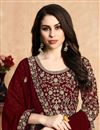 photo of Eid Special Fancy Georgette Fabric Designer Maroon Color Anarkali Salwar Suit