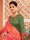 photo of Function Wear Fancy Satin Silk Fabric Printed Green Color Anarkali Dress