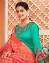 photo of Fancy Cyan Color Party Wear Printed Anarkali Suit In Satin Silk Fabric
